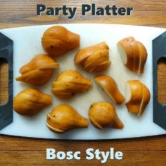 Party Platter - Bosc Style - cutting board with bosc pears sliced.