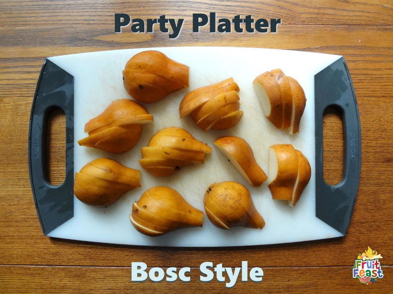 Party Platter. Bosc Style. Cut bosc pears.