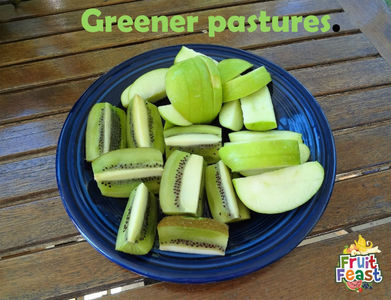 Greener pastures. Cut kiwi and granny smith apples