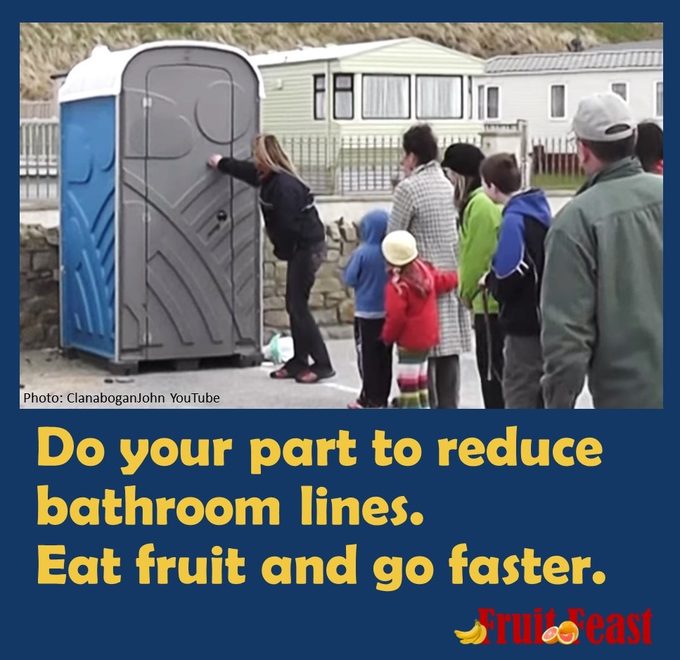 "Line/queue of people standing outside porta-potty - ""Do your part to reduce bathroom lines. Eat fruit and go faster."""