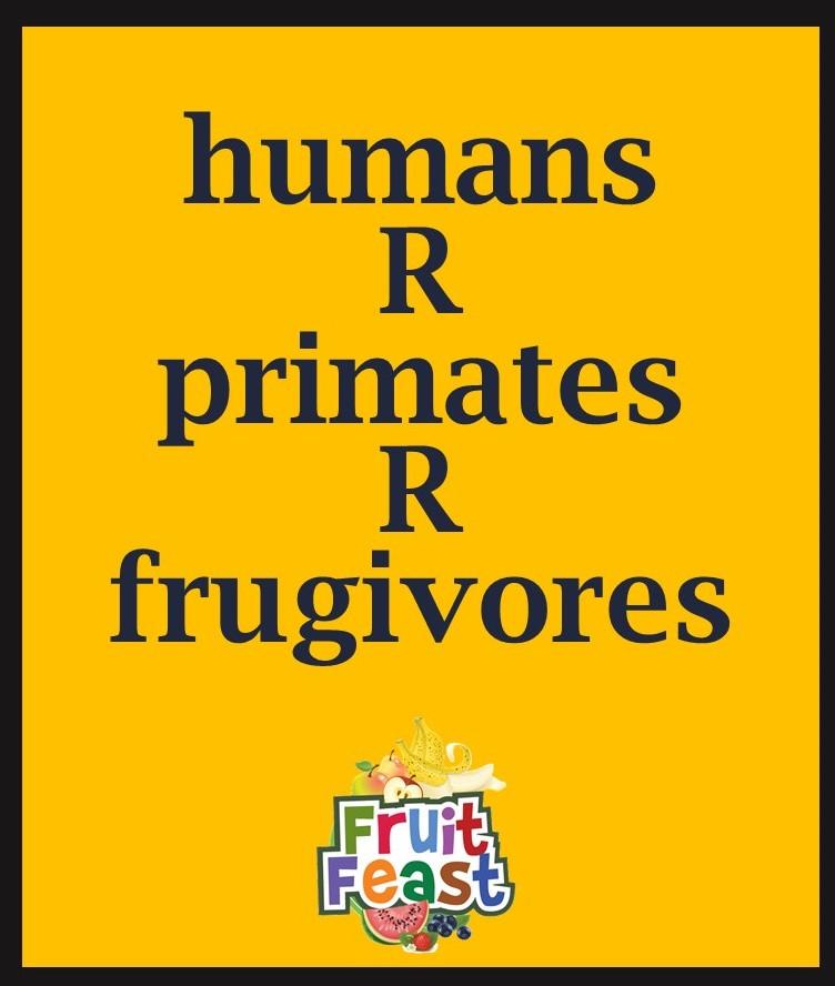 Humans R primates R frugivores