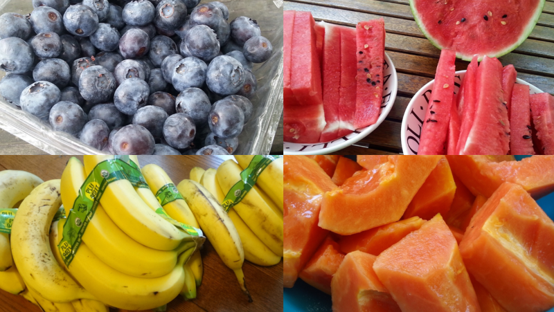 Collage of blueberries, papaya, bananas and watermelon