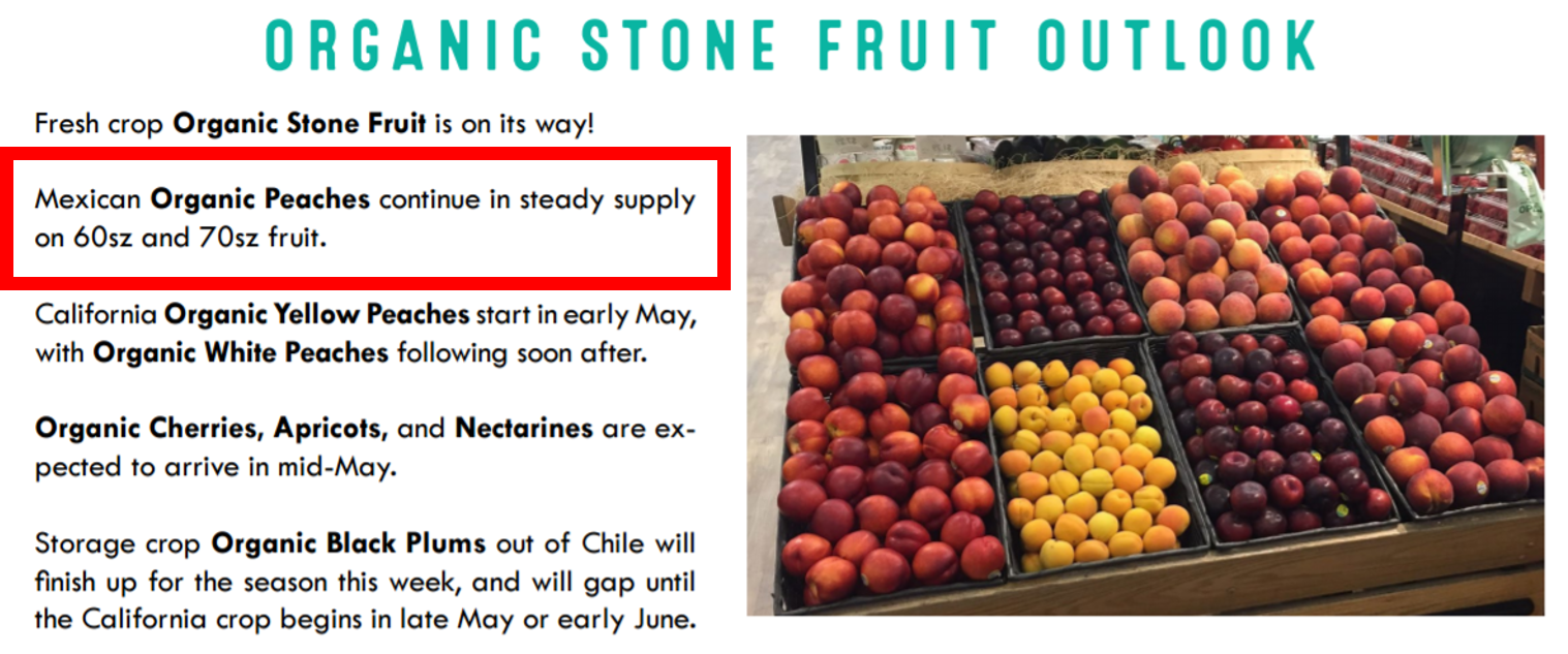 Wholesale Market Report - showing that mexican organic peaches are in good supply