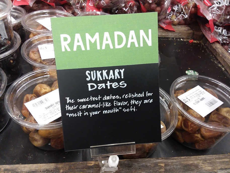 Sukkary dates on display with description