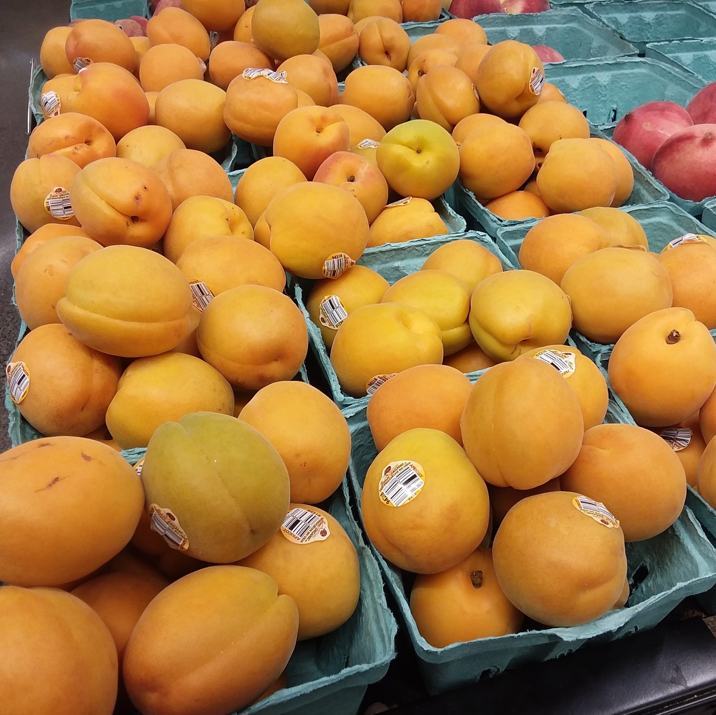 Apricots Displayed At Grocery Store