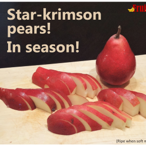 Star-krimson Pears! In Season! Photo Of A Whole Pear Beside Slices Of Pears On A Wooden Cutting Board, Atop A Dark Table