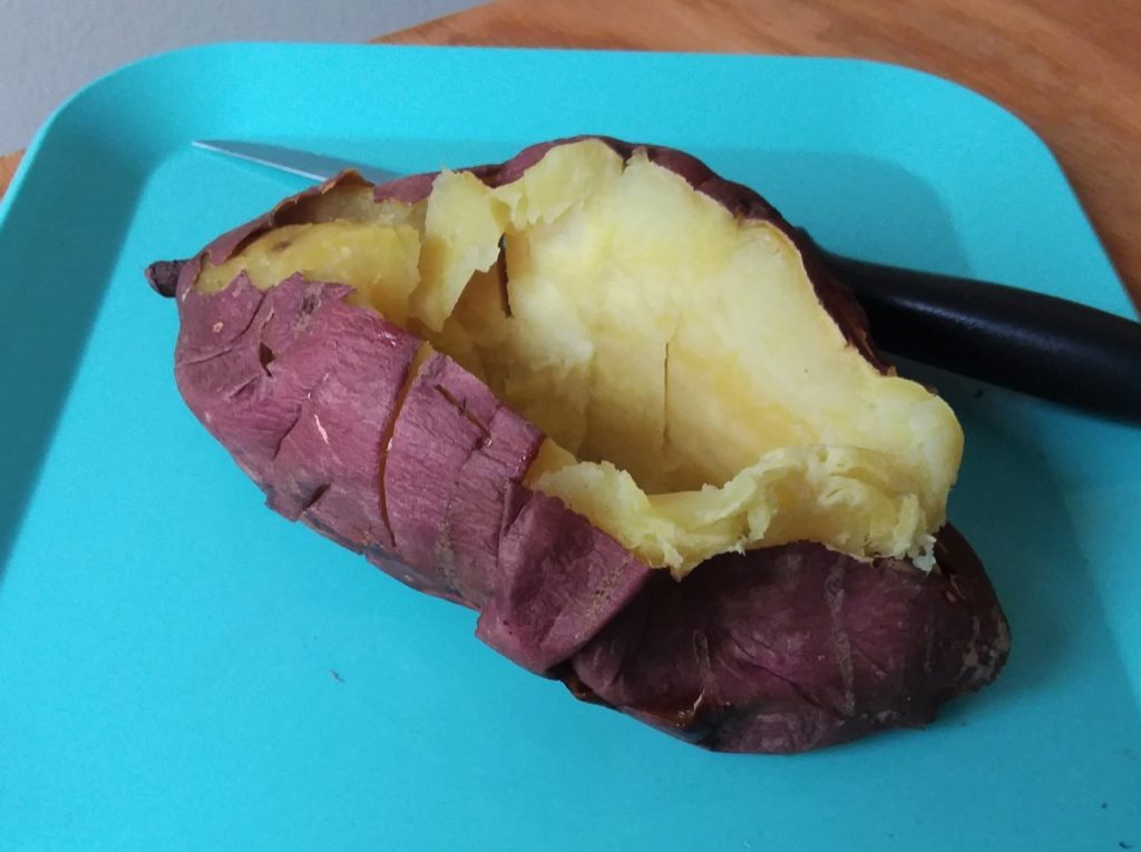 Japanese yam, cooked and sliced open.